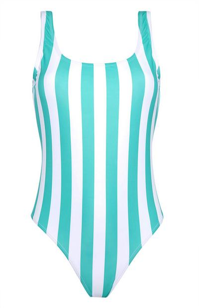 Blau gestreifter Badeanzug