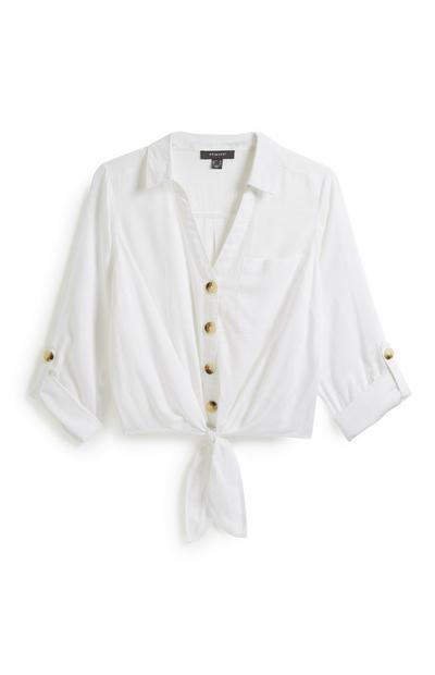 White Button Tie Front Shirt
