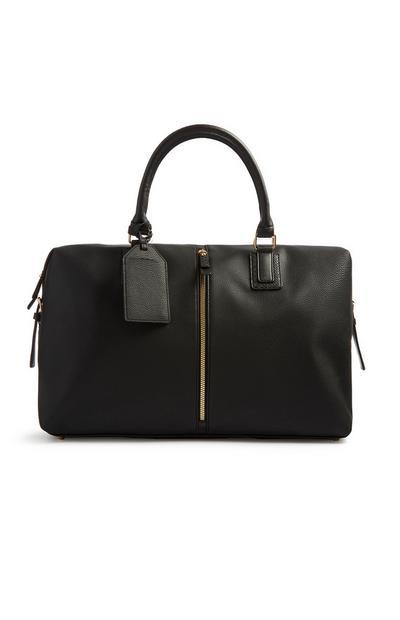 Schwarze Reisetasche mit Reißverschluss-Detail vorne