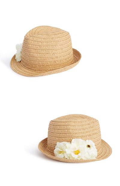 Straw Trilby Flower Hat