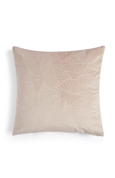 Rosafarbenes Samtkissen mit Blätterprint