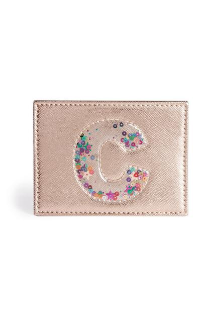 Sequin Initial Card Holder