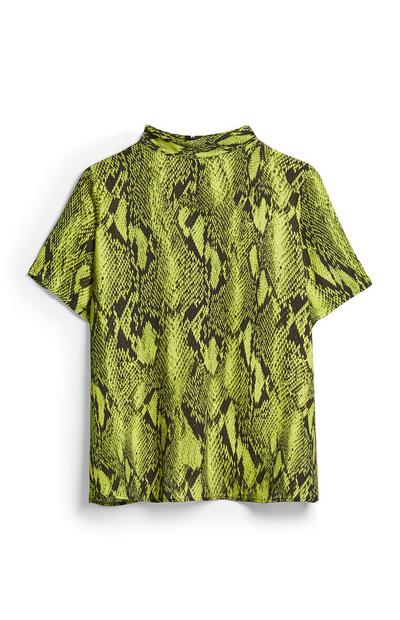 Lime Snake Print Shell Top
