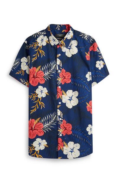Marineblaue Bluse mit Blumenmuster
