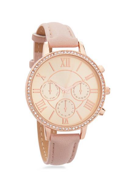 Roséfarbene Armbanduhr mit Strasssteinen