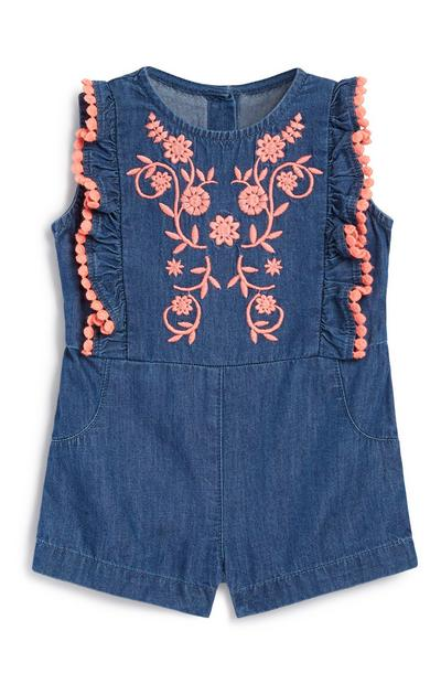 Baby Girl Frill Denim Playsuit