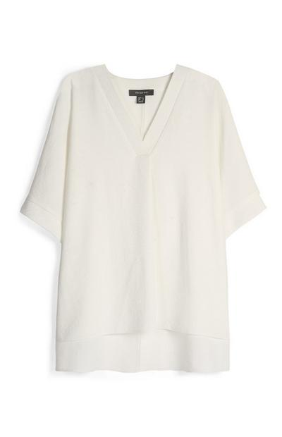 Ivory V-Neck Oversized Top