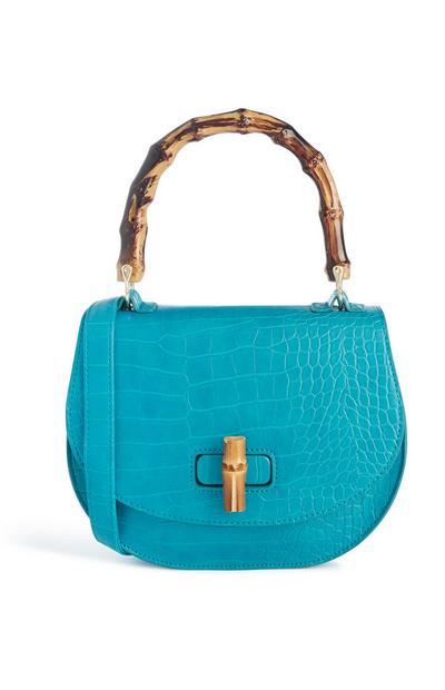 Blaue Tasche mit Schlangenprint