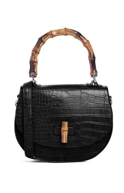 Schwarze Tasche mit Schlangenprint