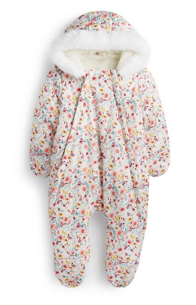 Newborn Girl Floral Snowsuit