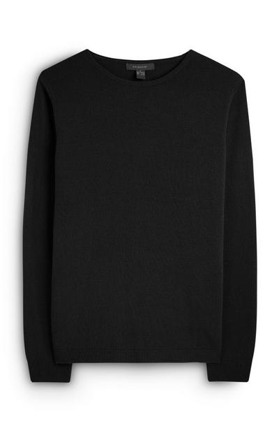 Black Basic Crew Neck Jumper
