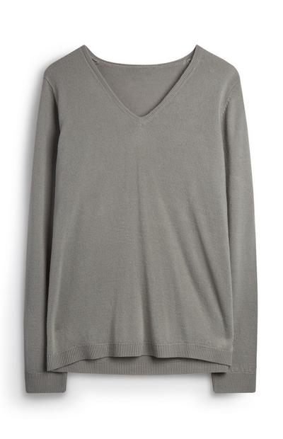 Grey Super Soft V Neck Jumper