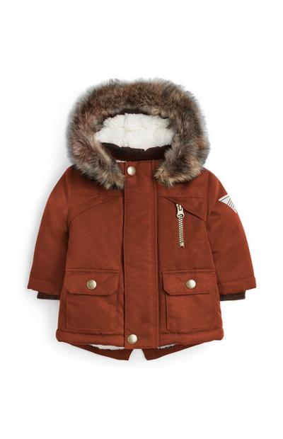 Baby Boy Terracotta Parka Cut With Fur Hoodie