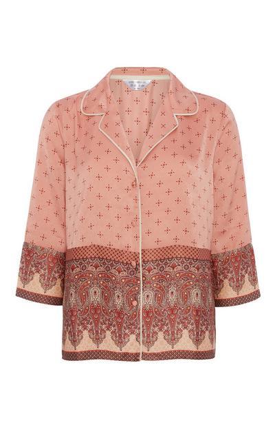 Satin Pattern Border Pyjama Top