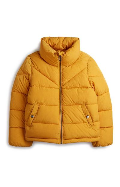 Older Girl Yellow Puffer Jacket