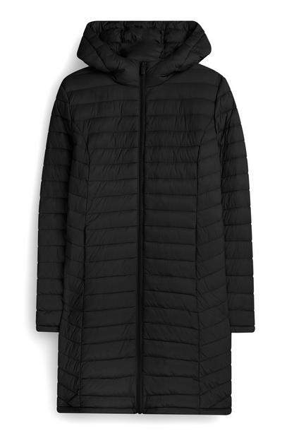 Lange, dünne Jacke in Schwarz