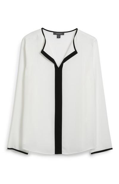 White Pleated Front Shirt