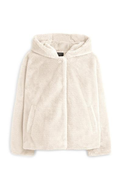 Ecru Faux Fur Hooded Fleece