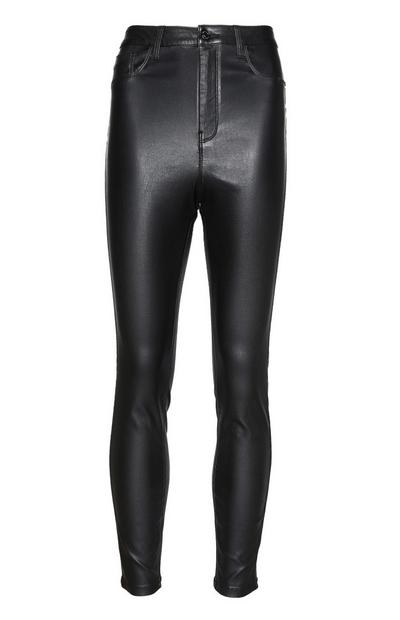 High Waisted Leather Effect Trousers