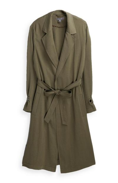 Khaki Maxi Duster Coat