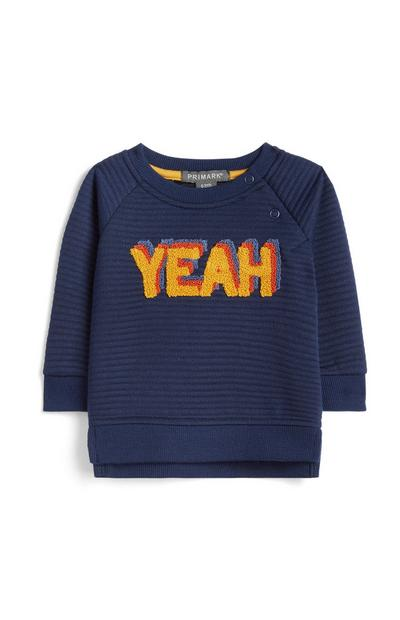 Baby Boy Navy Slogan Jumper