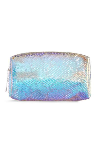 Make-up-Tasche mit Holo-Schlangenprint