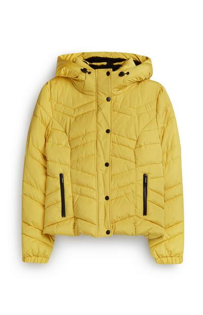 Yellow Short Hooded Padded Jacket
