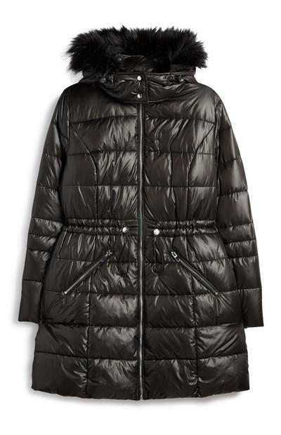 Black High Shine Padded Coat