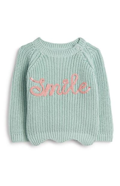 Baby Girl Teal Knit Jumper