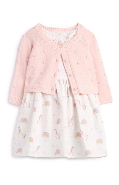 Rosafarbenes Kleid mit Cardigan für Neugeborene (M)