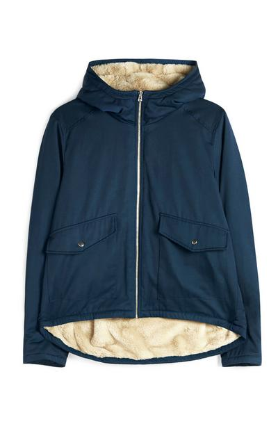 Blue Reversible Faux Fur Parka Coat