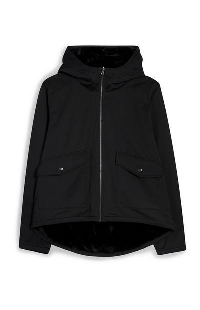 Black Reversible Faux Fur Parka Coat