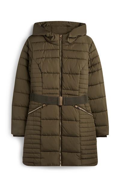 Khaki Belted Padded Coat