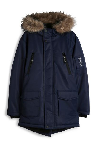 Older Boy Navy Parka Jacket