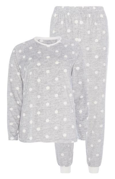 Graues Pyjamaset mit Punkten