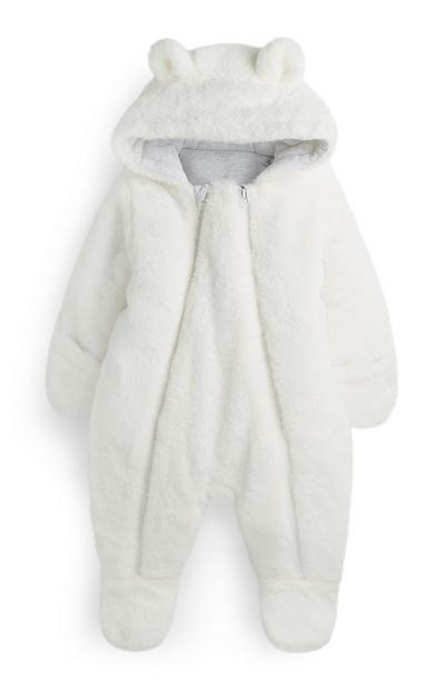 Newborn White Soft Snowsuit