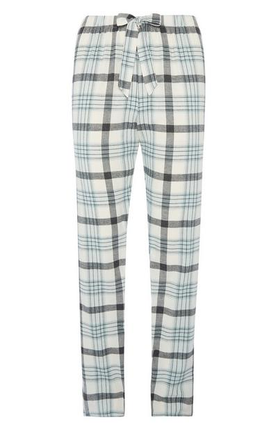 Blaue Pyjamahose aus Flanell