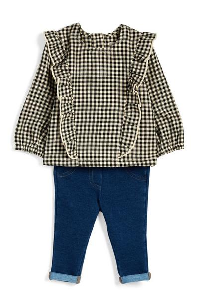 Baby Girl Gingham Blouse And Jeggings