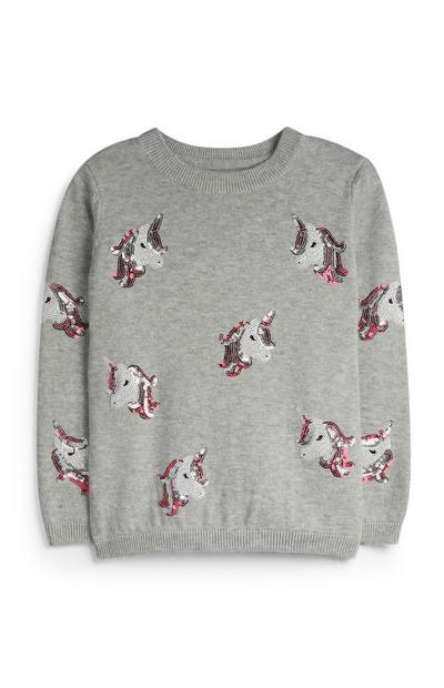 Grauer Pullover mit Einhornmotiv (kleine Mädchen)