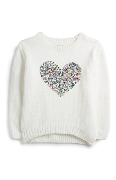 Younger Girl Sequin Heart Jumper
