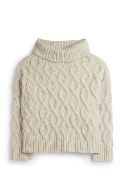 Pullover mit Zopfmuster (kleine Mädchen)