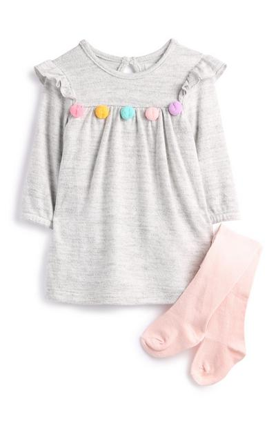 Newborn Girl Grey Pom Pom Dress And Socks