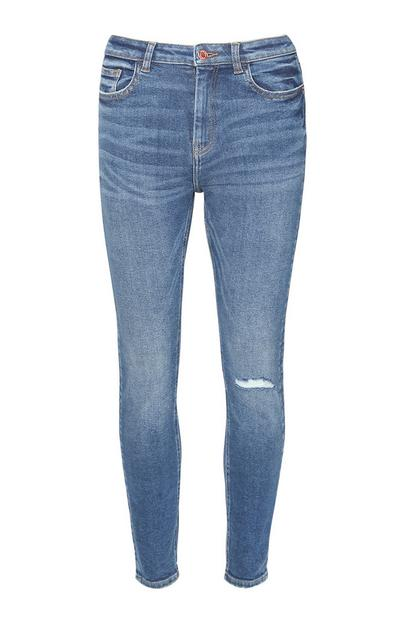 Indigoblaue Skinny Jeans im Used-Look