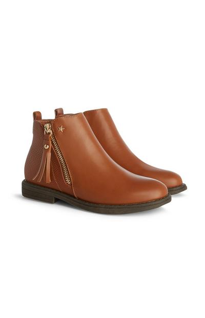 Older Girl Tan Zip Star Boots