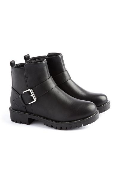 Schwarze Stiefel mit Schnalle (kleine Mädchen)