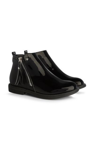 Older Girl Shine Black Boots