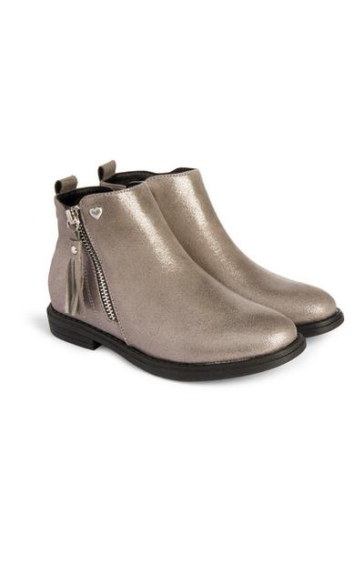 Older Girl Gold Zip Tassle Boots