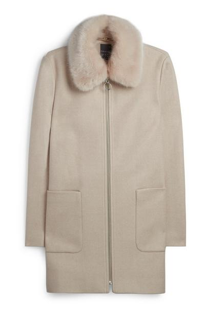 Cream Faux Fur Collar Coat