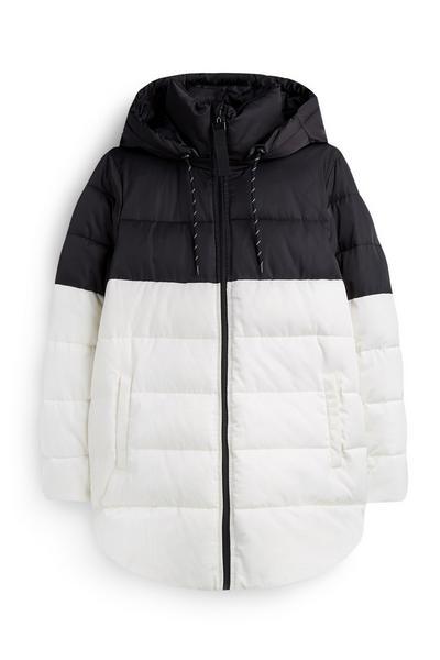 Mid Length Black And White Padded Coat