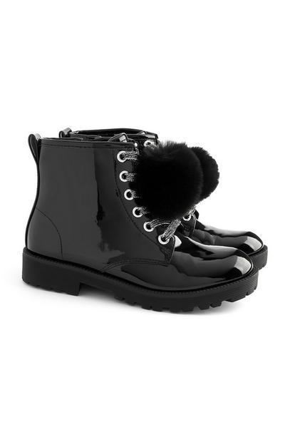 Older Girl Black Shiny Pom Pom Boots